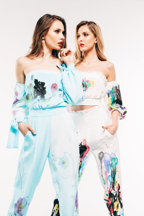 Baby Blue Hand-Painted Jumpsuit