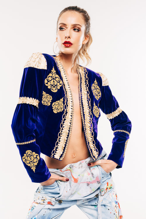 Royal Blue Velvet Embroidered Jacket