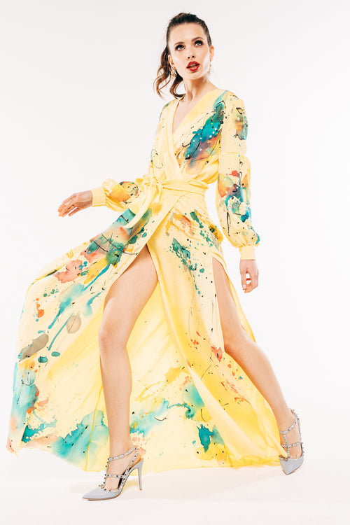 Gaia Yellow Silk Hand-Painted Dress