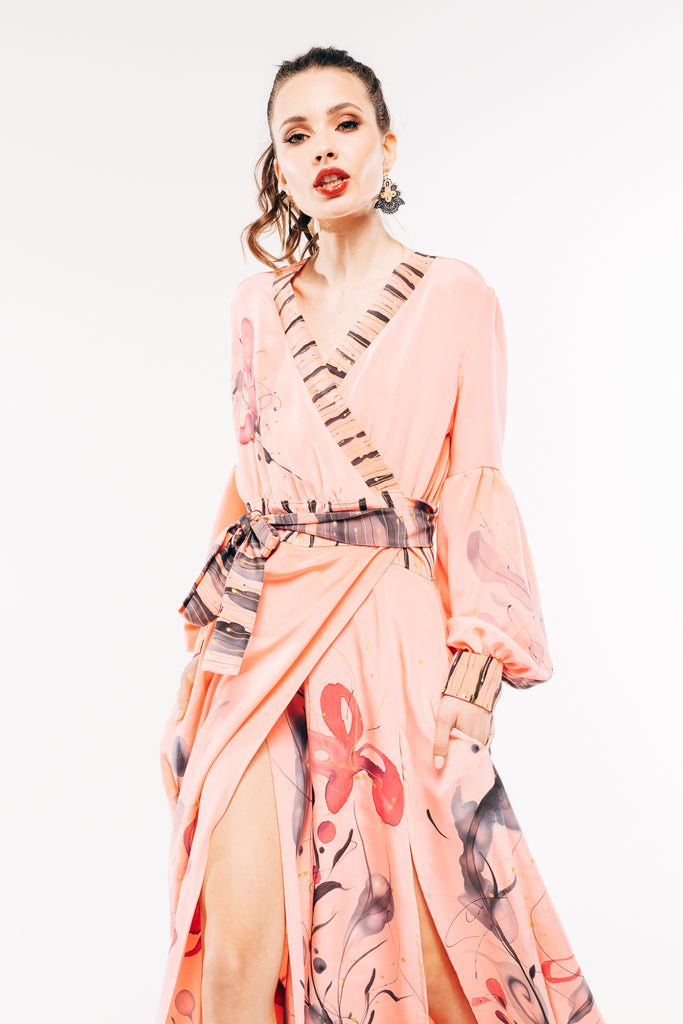 Gaia Salmon Pink Hand-Painted Dress