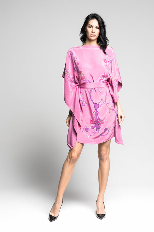 Fuschia Flower Hand-Painted Caftan
