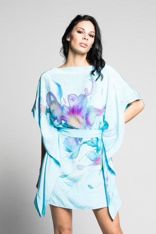 Gaia Blue Hand-Painted Dress