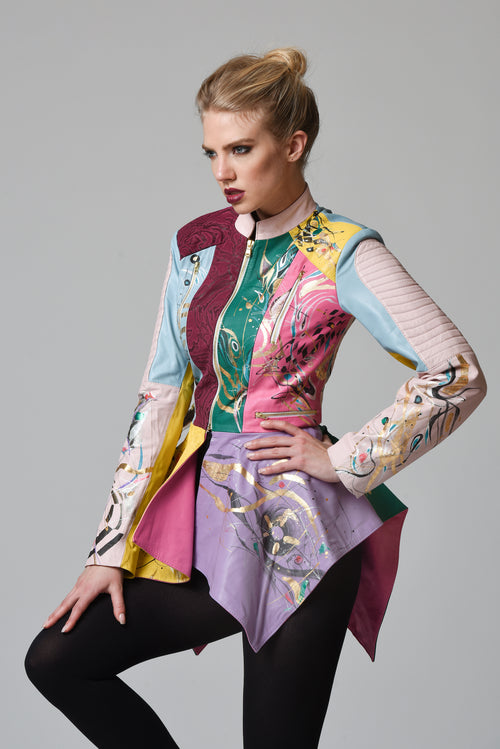 Gabriella Hand-Painted Multi-Colour Leather Jacket