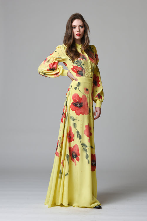 Kala Hand-Painted Silk Dress