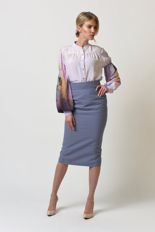 Ava Lilac Checkered Skirt