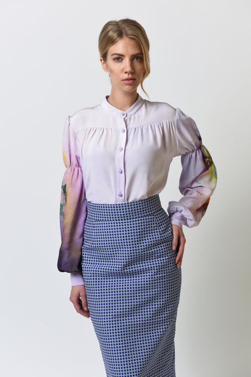 Ava Lilac Hand-Painted Blouse