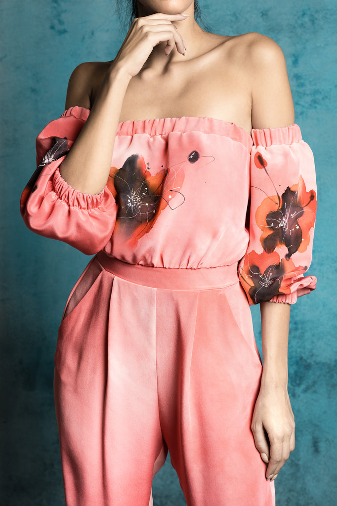 Poppy Red Hand-Painted Jumpsuit