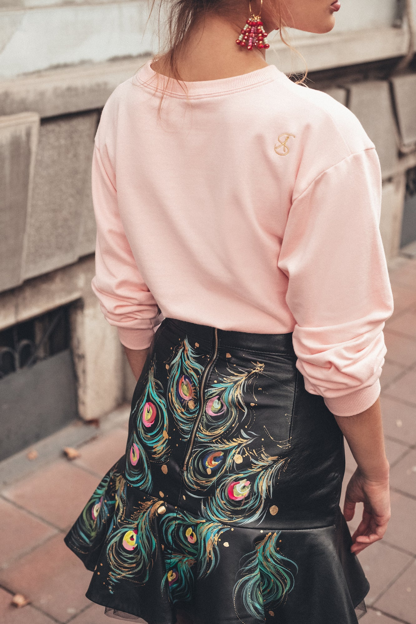 The Peacock Hand-Painted Leather Skirt