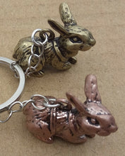 Three Rabbits Metal Keyring