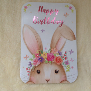 Large Pretty 3D Bunny Rabbit Birthday Card