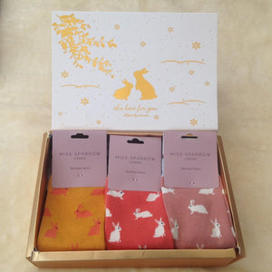 Customised Luxury Ladies Bamboo Bunny Rabbits Sock Gift Box - you choose colours