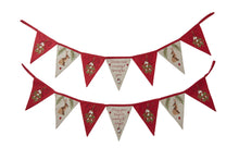 winter hares christmas fabric red bunting