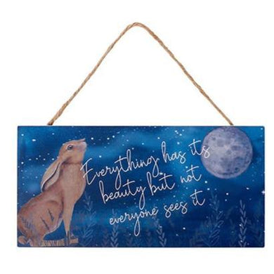 moon gazing hare wooden plaque