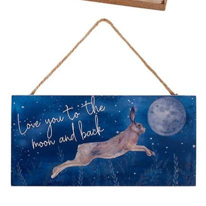 Moon Gazing Hare Wooden Plaque - I Love to The Moon and Back