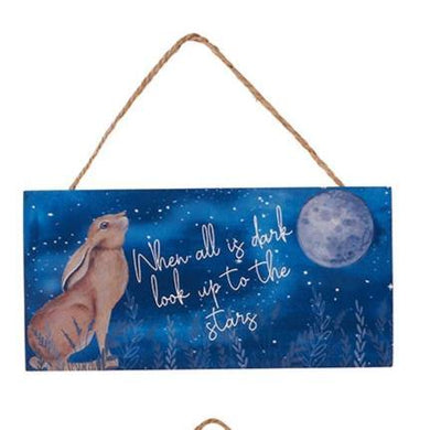 Moon Gazing Hare Wooden Plaque - When All Is Dark look Up To The Stars