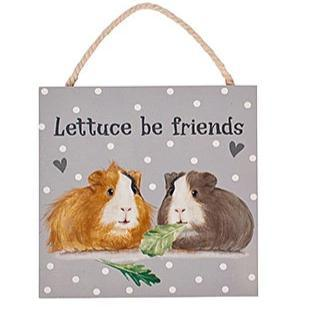 Guinea Pig Wooden Plaque - Lettuce Be Friends