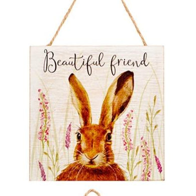 Wooden Inspirational  Hare Plaque -  Beautiful Friend