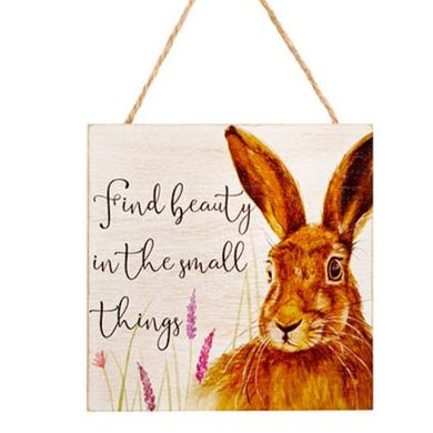 Wooden Inspirational Hare Plaque -  Find Beauty In The Small Things