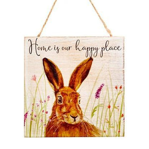 Wooden Inspirational Hare Plaque -  Home Is Our Happy Place