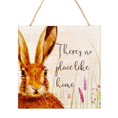 Wooden Inspirational Hare Plaque - There Is No Place Like Home