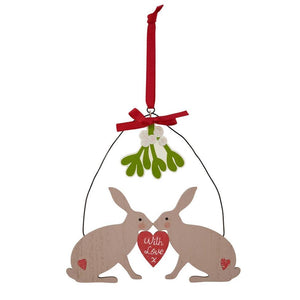Christmas Hares Kissing With Love Decoration