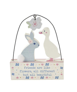 Pretty Pastels Bunny & Duck Wooden Block Decoration