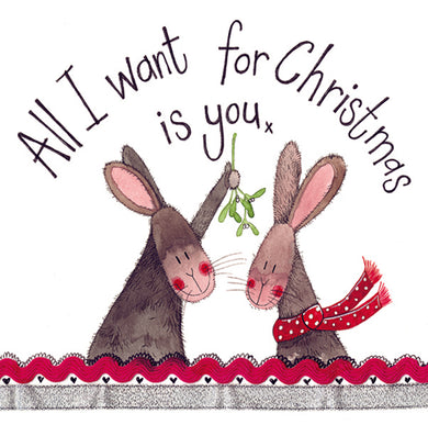 Alex Clark All I Want For Christmas Is You Bunny Rabbit Card