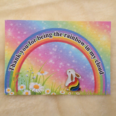 Cheer Up Rainbow Bunny Enamel Pin Badge & Card