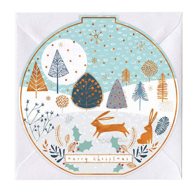 Copper Hares Round Christmas Card
