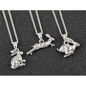 Silver Plated Hare Necklace in Gift Box