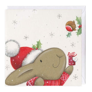 Giving Gifts Bunny Christmas card