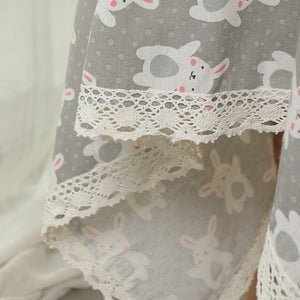 Grey Bunny Rabbit Linen Tablecloth