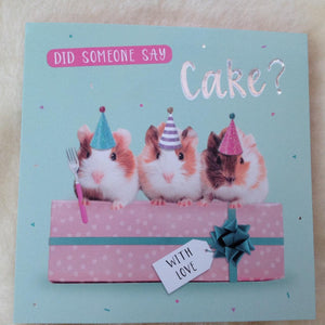 Guinea Pig & Cake Birthday Card