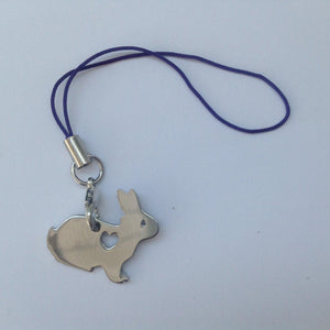 Silver Love Heart Rabbit Charm