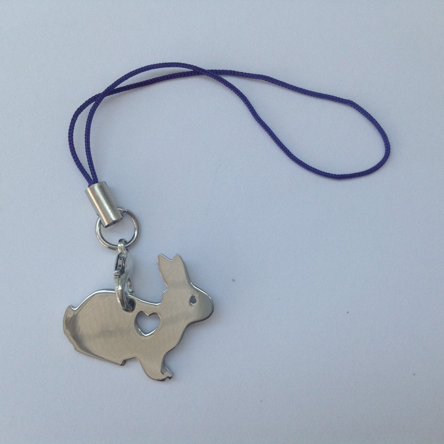 Silver Heart Rabbit Charm