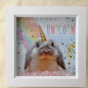 Unicorn Bunny Rabbit Shaker Picture Frame - 1 left