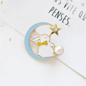 Love You to The Moon Bunny Rabbit Brooch/Pin