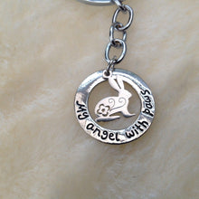 My Angel With Paws Rabbit Memorial Keyring
