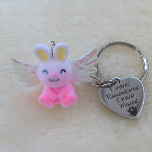 Angel Bunny Memorial Rabbit Keyring - 3 colours