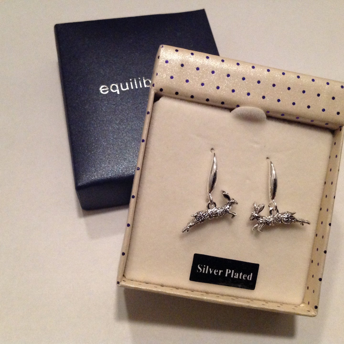 Silver Plated Hare Earrings in Gift Box