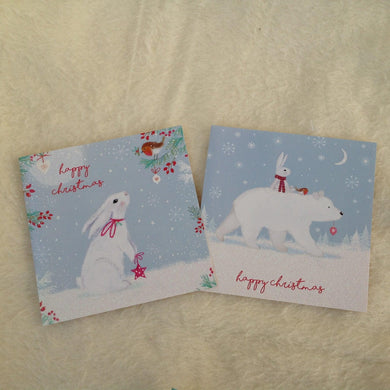 Bunny, robin and polar bear Christmas cards