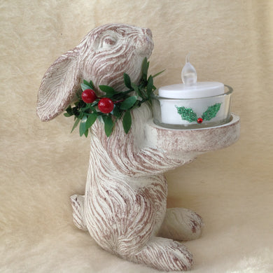Christmas Bunny Rabbit Tealight Holder Decoration