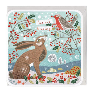 Hare & Robin Season's Greetings Christmas Card