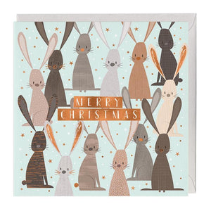 Festive Bunny Rabbits Christmas Card