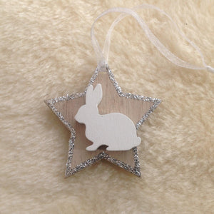 Silver Star Bunny Christmas Tree Decoration