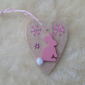 Pink Wooden Heart Bunny Christmas Tree Decoration