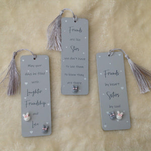 Grey Wooden Friend Bunny Rabbit Bookmark