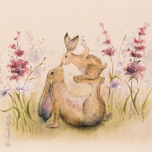 Precious One Mother & Daughter Rabbit Greetings Card With Beautiful Poem