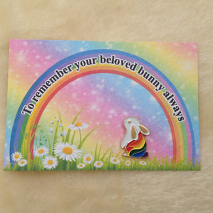 Memorial Rainbow Bunny Enamel Pin Badge & Card