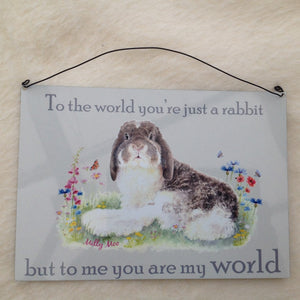 Milly Moo You Are My World Rabbit Large Metal Sign